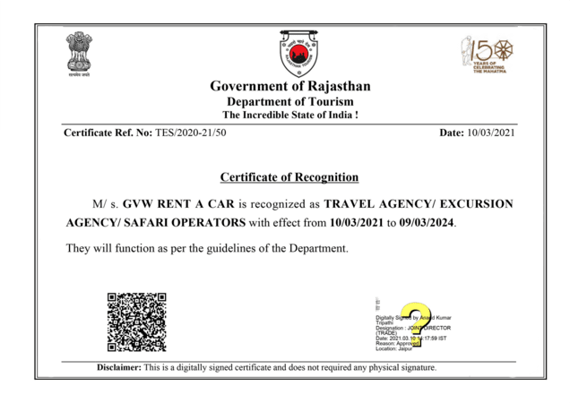 certificate of recognition by Government of Rajasthan for GVW Rent A Car