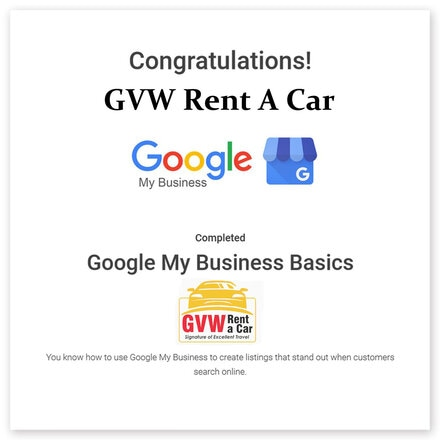 gvw rent a car is varified by google mybusiness